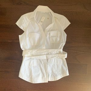 NWT - NY & Company white belted dress shirt.